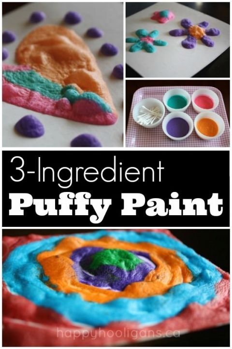 Quick and Easy 3-Ingredient homemade puffy paint recipe - Happy Hooligans