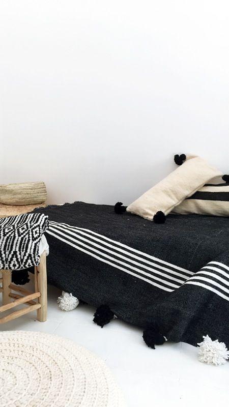 Image of RESERVED for Valerie Gnaedig -Moroccan POM POM Cotton Blanket Black - white stripes