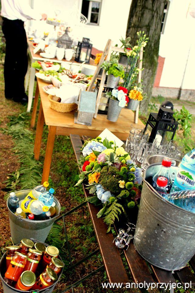 16. Forest Wedding,Outdoor buffets,Wedding decor / Leśne wesele,Wesele w plenerze,Anioły Przyjęć