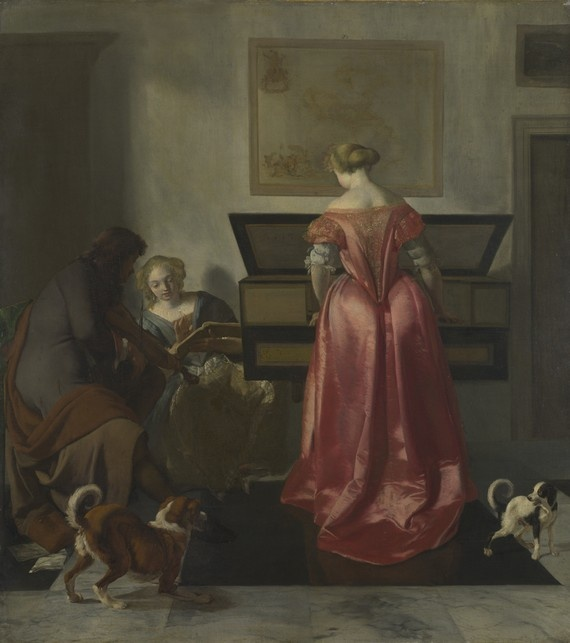Two Women and a Man making Music (circa 1675) by Jacob Ochtervelt. The National Gallery.