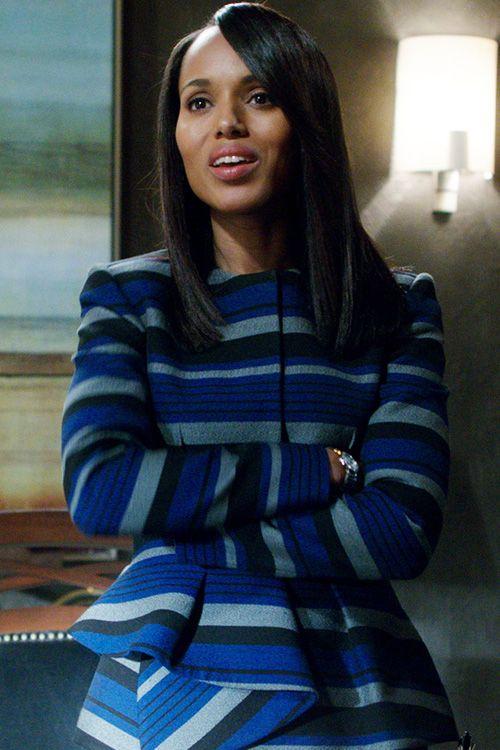 """Proenza Shouler"" striped blue/grey/black jacket worn by Olivia Pope (Kerry Washington) on Scandal, Season 4."