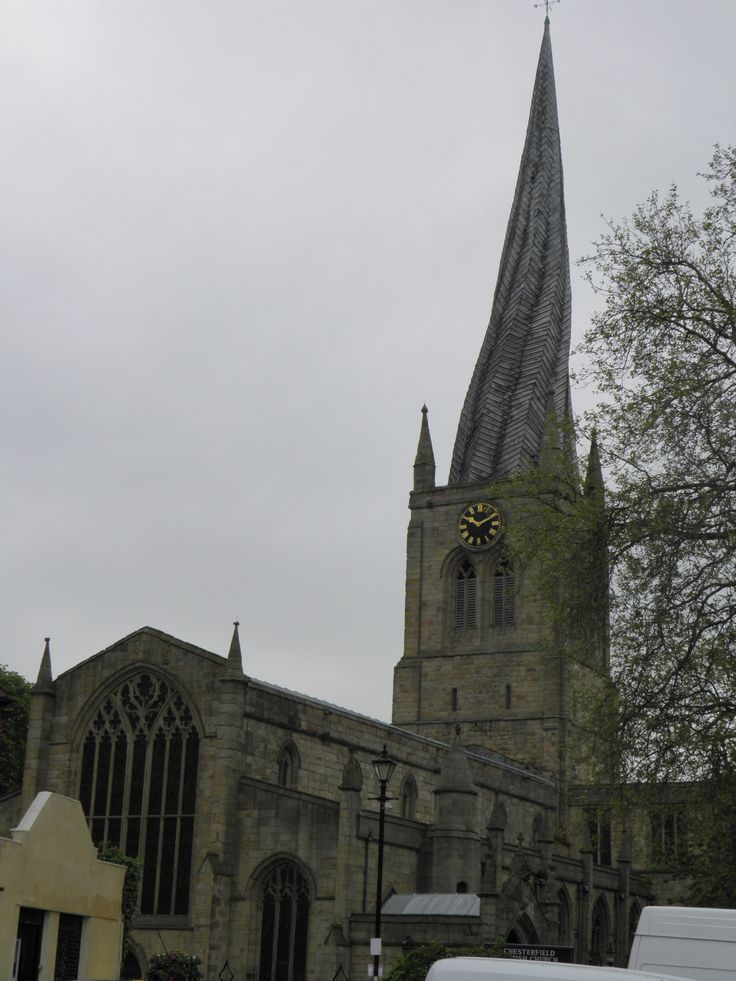 Crooked Church spire in Chesterfield. Good town to kick out from to the surrounding Derbyshire area. Chatsworth house, Matlock Spa, Bakewell and Creswell Caves. Stayed at the ibis and ate at the treble bob pub opposite.