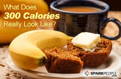 What Does 300 Calories Really Look Like? EYE-OPENING visuals of normal portion sizes here! | via @SparkPeople #nutrition #food #healthy
