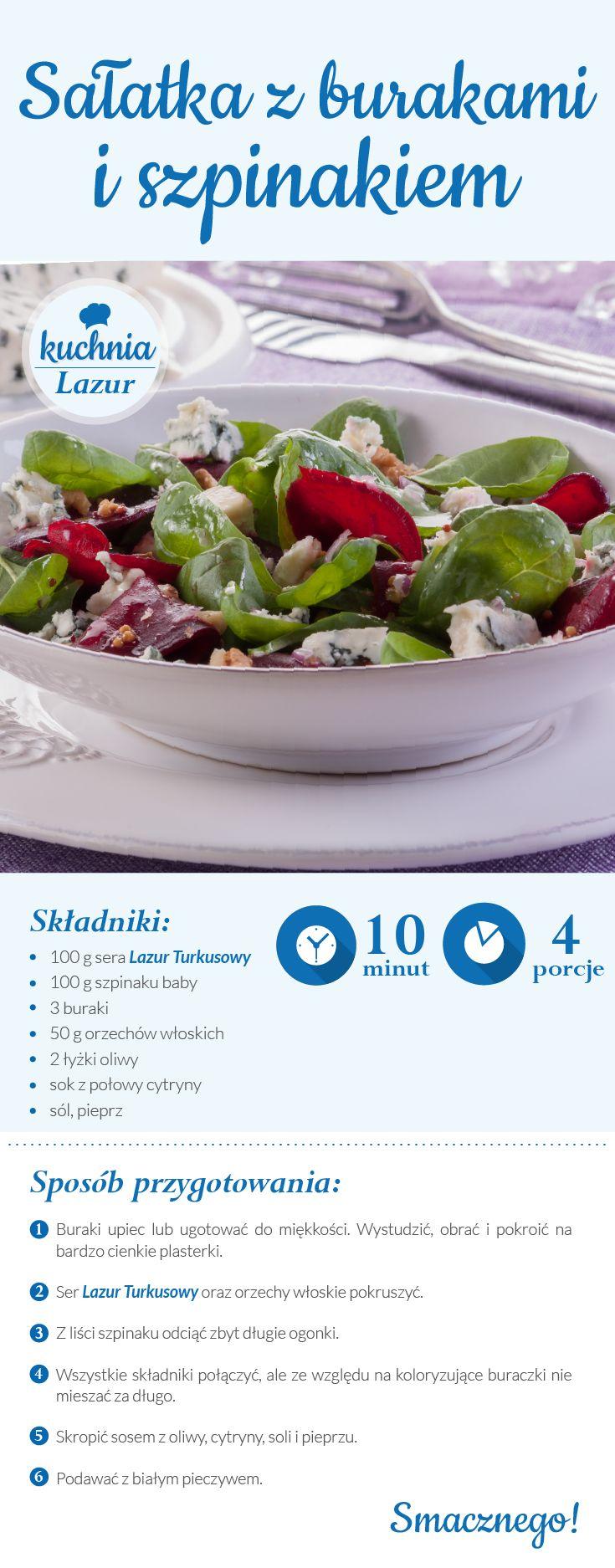 Sałatka z burakami i szpinakiem/ buraki/ szpinak/ser pleśniowy lazur/przepisy/ kuchnia lazur