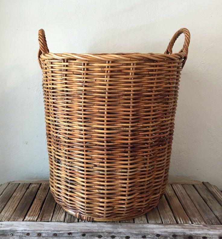 Vintage Woven Laundry Basket by NostalgicNuance on Etsy https://www.etsy.com/listing/451918698/vintage-woven-laundry-basket