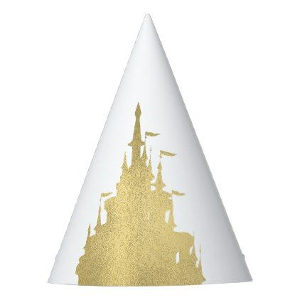 Gold Foil Princess Flag Castle Storybook Party Party Hat  $1.75  by printabledigidesigns  - cyo customize personalize diy idea