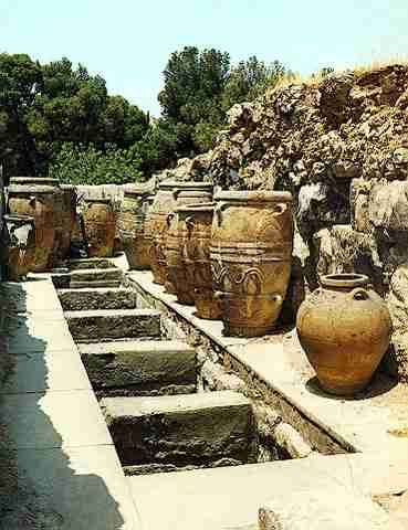 Storerooms at the Palace of Knossos, Crete, Greece. Some of the great jars, or pithoi, found at Knossos were used to store honey.