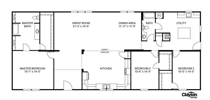 Floor plan for the veranda model scl32723aclayton homes home floor plan m - Veranda plan de campagne ...