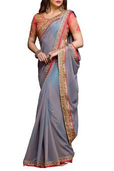 Grey Georgette Embroidered Saree by Stylee Lifestyle, Saree with Blouse Piece #saree #indianwear #ethnicwear #traditional #indianoutfit #fashion #indianfashion #sareewithblouses #ootd #potd #colorful #pretty #beautiful #glitstreet