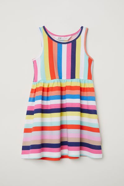 cb4aaf6c4a0 Sleeveless Jersey Dress   Multicolored stripes   Kids   H&M US ...