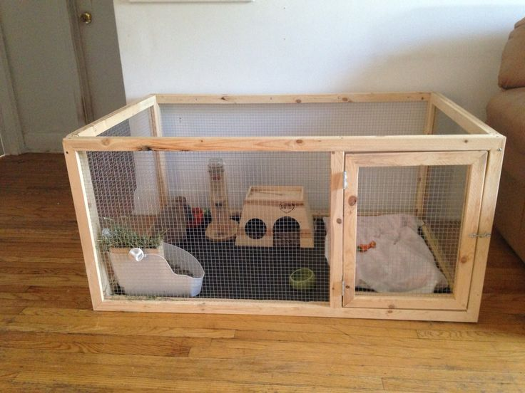 "This is the bunny cage.The bottom is a crate pan bought from the pet store. The cage is about 30"" x 24"" x 50"" and cost less than $100 to make."
