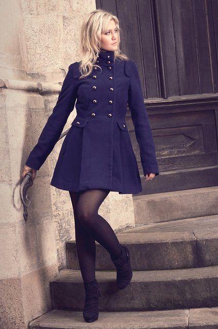 Military Style Skirted Coat