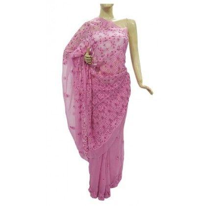 Chiffon Saree Lucknow Chikan (MVGO6713)
