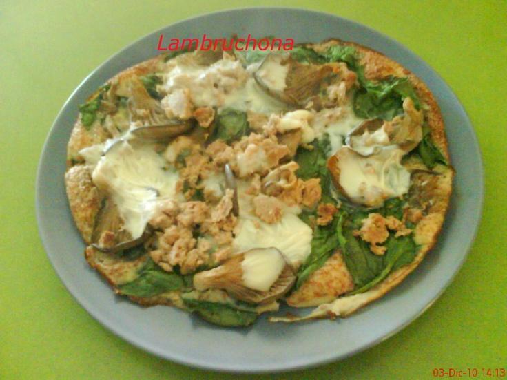LAMBRUCHONA: Receta. Dieta Dukan. Quiche de setas, espinacas y atún.