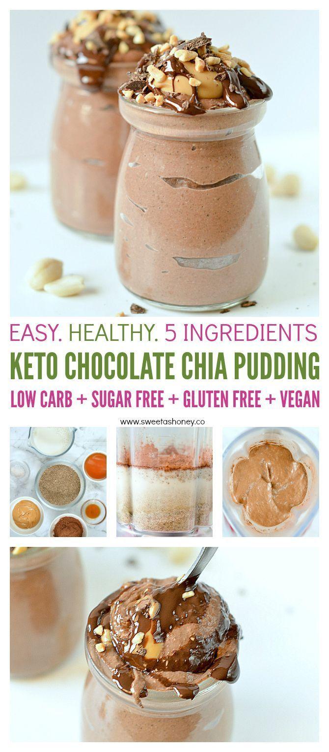 Schokoladen Chia Pudding Mandelmilch Keto Pudding Sweetashoney