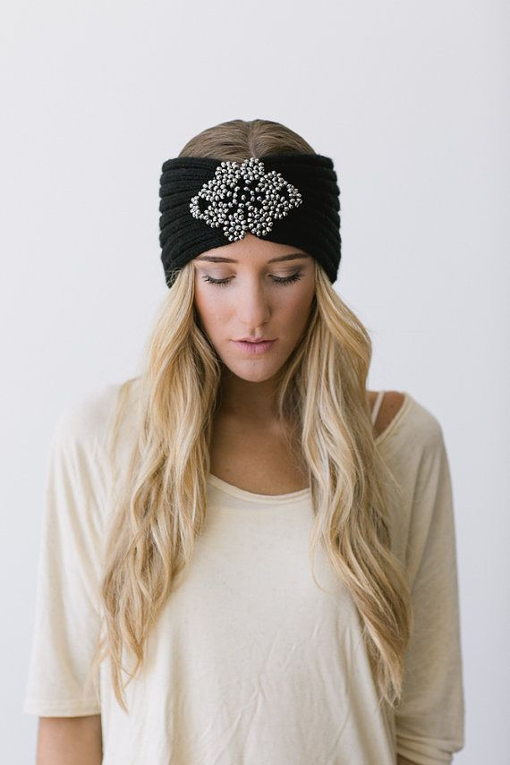 Hippie Headband Knitting Pattern : Boho+KNITTED+Headband+Black+Knit+Turband+Bohemian+by ...