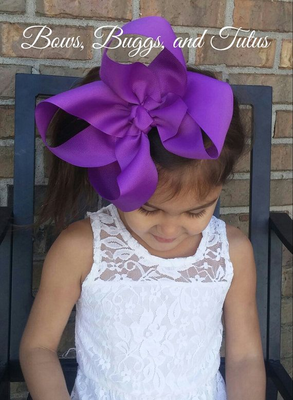 8 inch purple hair bow giant bow Big bow by BowsBuggsandTutus