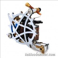 Professional Tattoo Machine Liner Shader Gun - Silver + Brown