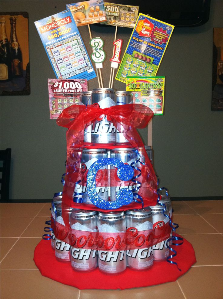 Birthday Beer Cake Idea: Scratch tickets for accent! Use skewer sticks