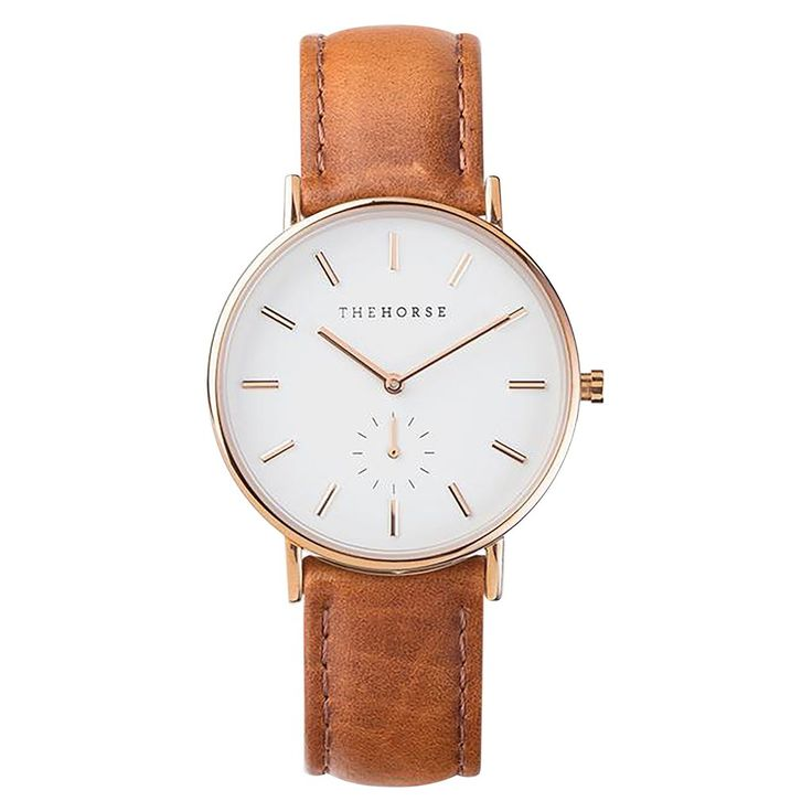 The Horse Watch - Classic - Rose Gold / White / Tan Leather available at www.paperplanestore.com