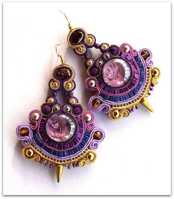 Purple & Gold soutache earrings, HANDICRAFT