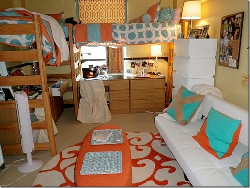 Dorm Set Up. OMG WERE DOING THAT TO OUR CHAIRS cover up the ugly.
