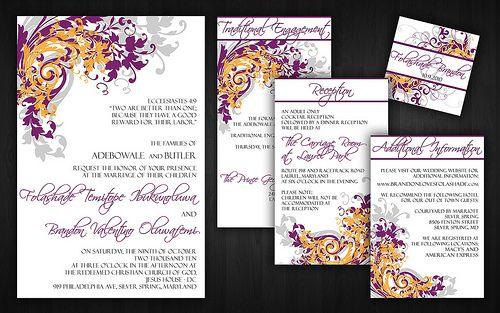 wedding invites purple orange