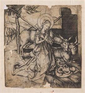 Martin Schongauer - Die Hl. Jungfrau Maria Verehrt Das Jesuskind, Im Hintergrund Der Hl. Joachim Und Die Hl. Anna
