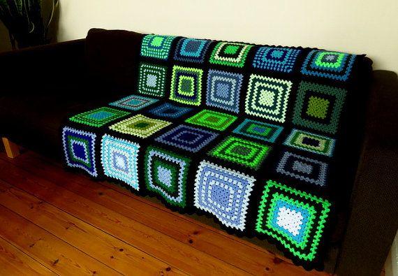 Blue Crochet Blanket Blue Afghan Green Afghan Blanket
