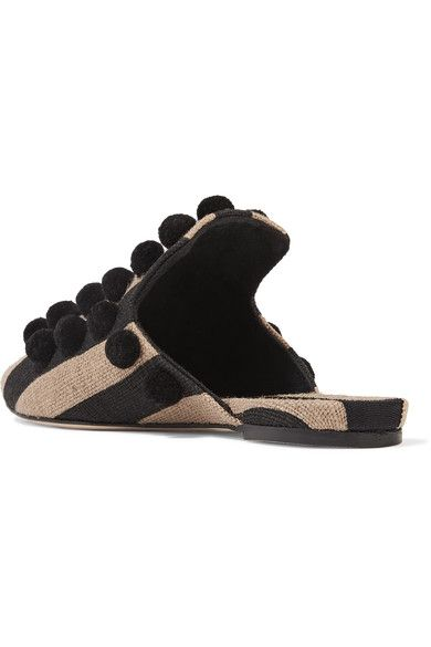 Sanayi313 - Pompom-embellished Striped Canvas Slippers - Black - IT37