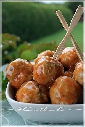La meilleure recette de ~Boulettes de porc, sauce aigre-douce~! L'essayer, c'est l'adopter! 5.0/5 (2 votes), 4 Commentaires. Ingrédients: Ingrédients Boulettes 1 oeuf 1/4 de tasse de chapelure 1/4 de tasse d'oignons vert hachés fins 2 c.à table de carotte râpée 1 c. thé de gingembre frais 3/4 c. thé de sel 1/4 c.thé de poivre 1 lb de porc haché maigre Ingrédients Sauce aigre-douce 1 tasse de jus d'ananas 1/3 tasse de ketchup 1/4 de tasse de vinaigre de cidre 1/4 de tasse de sirop...