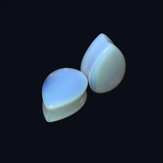 Opaline Teardrop Plugs  2g/g 0 00g 7/16 1/2  par Intrepidjewelry