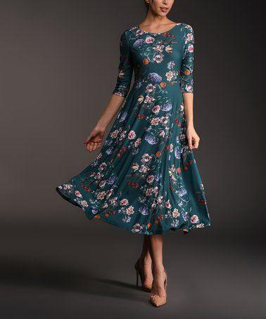 411fb7333839 Another great find on  zulily! Dark Teal Floral Three-Quarter Sleeve Midi  Dress - Women   Plus  zulilyfinds