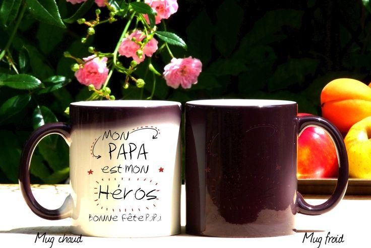 Mug original et personnalisable Mon papa est mon Héros, mug magique , céramique, tasses personnalisable