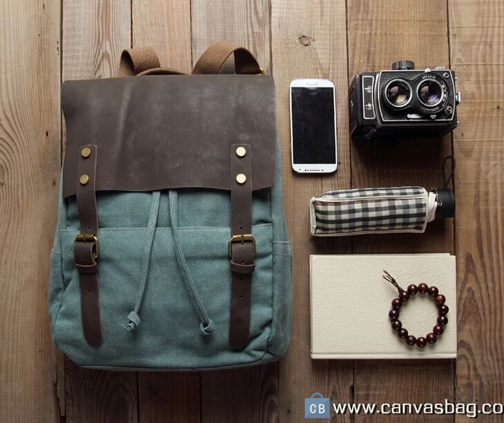 Leather Canvas Backpack Canvas Bag DSLR Camera Bag (7)