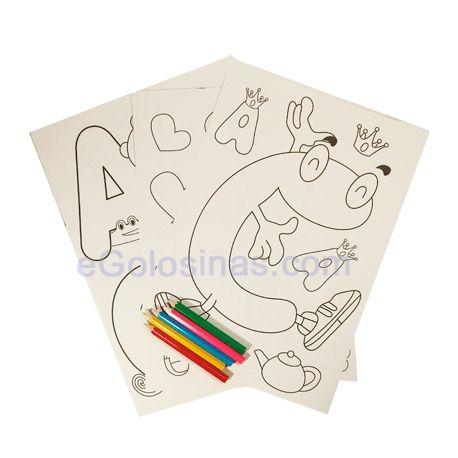 SET 4 PAPELES PARA PINTAR Y COLORES 1ud son 4 hojas decoradas para colorear y 2 hojas en blanco. Se adjuntan colores para pintar. Regalos para niños en Bodas o Fiestas de Cumpleaños. Es un complemento ideal para restaurantes.