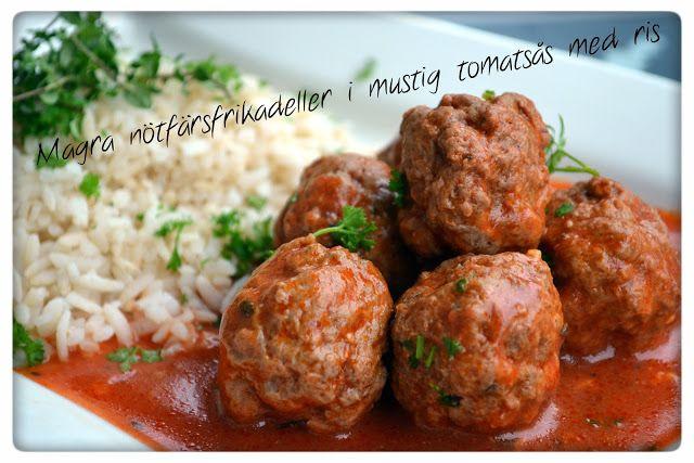 """Tasty Health: """"Magra nötfärsfrikadeller i mustig tomatsås med ris"""" och lite…"""