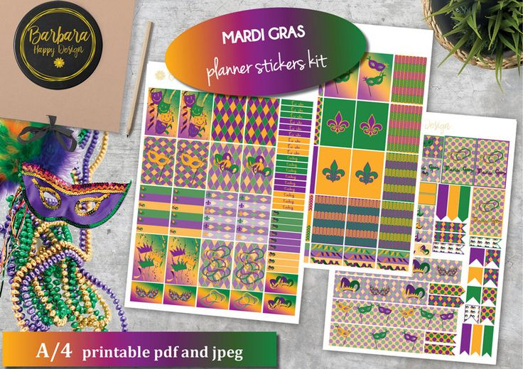 Mardi Gras Planner Sticker Kit - Decorations New Orleans - February Planner - Purple - Green - Gold di BarbaraHappyDesign su Etsy
