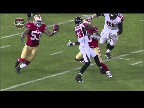 """The Pick at the Stick"" - Last 49ers game at Candlestick Park (Dec. 23, 2013). Falcons inside the 49ers' red zone, 1:31 left, about to tie or win. NaVorro Bowman with the interception, Ted Robinson with the call, Candlestick with the pandemonium, Niners to the playoffs."