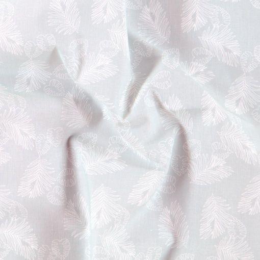 Bomull ljusgrå m små vita blad