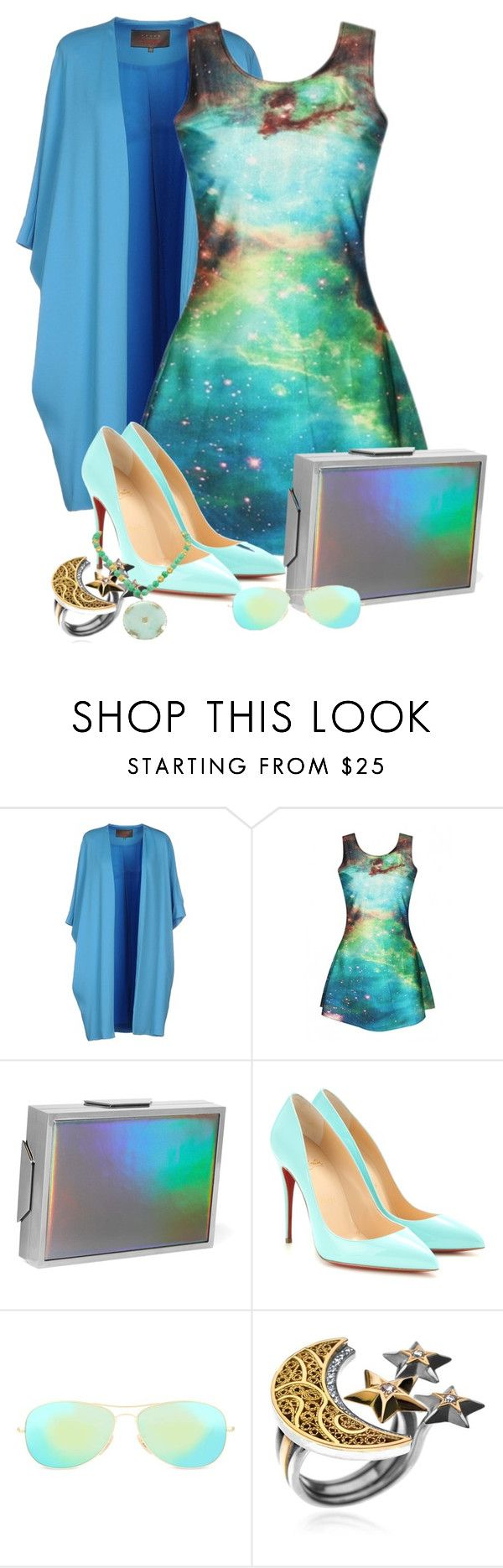 """""""Space Dress"""" by fantasiegirl ❤ liked on Polyvore featuring Space Style Concept, Lee Savage, Christian Louboutin, Ray-Ban and AZZA FAHMY"""