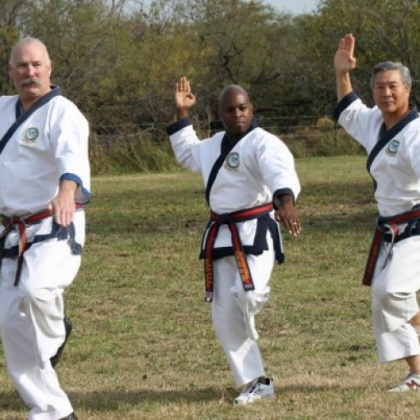 One of my most treasured pics - me, flanked by Master Joe Goss Sr. and Choong Jae Nim CS Kim of the International Tang Soo Do Federation. #TangSooDo
