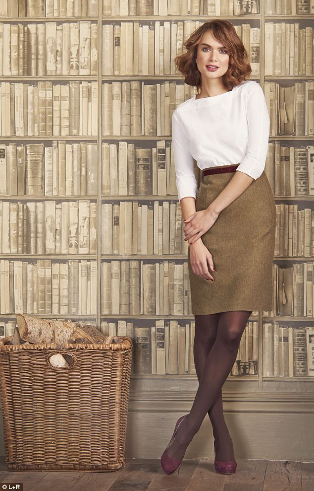 Scarf, £39.95, Fenwick, 020 7629 9161; Top, £29, hobbs.co.uk; Sweater, £15, hm.com; Skirt, £125, jaeger.co.uk Belt, £35, jigsaw-online.com; Tights, £6, marksand spencer.com; Boots, £39.99, zara.com