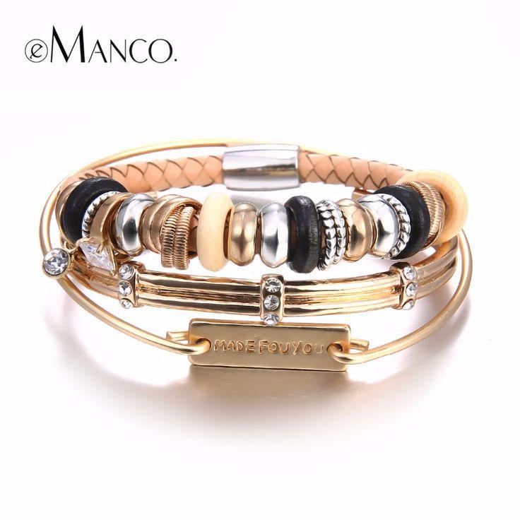 eManco DIY Bangle bracelets womens 2017 Wood Beads Magnet Buttons Casual Geometric Women's bracelets Wristband bijouterie