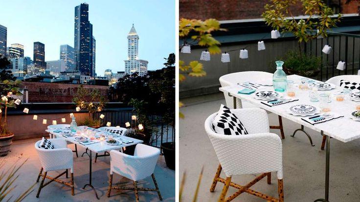 table noire et blanche diner toit terrasse