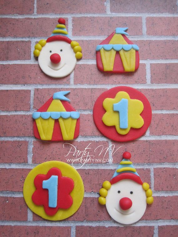 EDIBLE Fondant Toppers Circus by PartyNV on Etsy                                                                                                                                                      Mais
