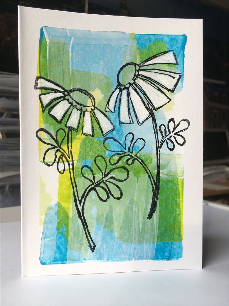 Neutral card. Creditcard technique background with acrylic paint. Flowers: Leonie Pujol stamp set 'Everlasting love'. By Asjechris (2017)