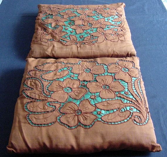 Pair of Cutwork & Embroidered Cushions. c 1930 by chalcroft, $14.95