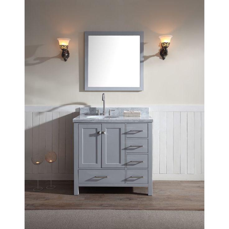 Ariel Cambridge 37 Inch Single Sink Vanity Set With Left Offset In Grey