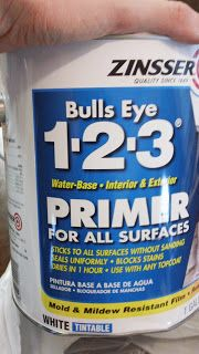 Primer used for kitchen cabinets, no sanding (low gloss before), low/no voc.  Killz also makes a no voc primer, but it's not sold in our town. I bought Behr, also low/no voc. (I wonder why they don't advertise that-premium plus has NO voc.) Julia recommends 2 coats.